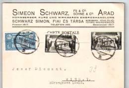 Romania Simeon Schwarz In Arad 1933 Carte Postale Ce1947 - Entiers Postaux
