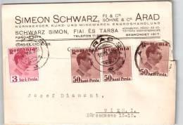 Romania Simeon Schwarz In Arad 1938 Carte Postale Ce1963 - Entiers Postaux