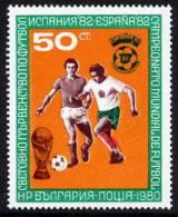 BULGARIA 1980 Football World Cup 1982 Single Ex Block 104 MNH / **.  Michel 2839 Cat. €25 - Unused Stamps