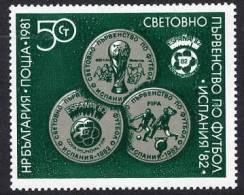 BULGARIA 1981 Football World Cup 1982 Single Ex Block 111 MNH / **.  Michel 2839 Cat. €20 - Bulgaria