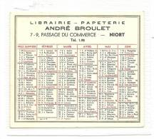 Calendrier, Librairie - Papeterie ANdré Broulet - Niort (79) - 1963 - Calendars