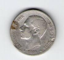 ALFONSO XII   1 PESETA PLATA   1881      NL165 - [ 1] …-1931 : Reino