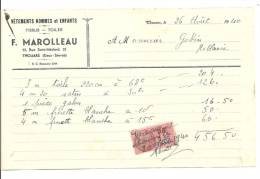 Factures, F. Marolleau - Vêtements Hommes Et Enfants - Thouars (79) - 1940 - France