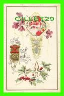 X MAS GREETING - SANTA CLAUS - EMBOSSED - SERIE-1001-MIDLAND PUB CO, NY - GOLD MEDAL ART - - Santa Claus