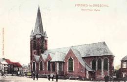 FRASNES LEZ BUISSENAL - Grand´Place Eglise - Superbe Carte Circulée 1913 Et Colorée - Frasnes-lez-Anvaing