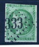 """YT 42B """" Cérès émission De Bordeaux 5c. Vert """" 1870 GC 333 - 1870 Bordeaux Printing"""