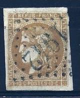 """YT 43B """" Cérès émission Bordeaux 10c. Bistre-jaune """" 1870 GC 1942 - 1870 Bordeaux Printing"""
