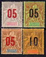 Madagascar N° 111 / 14 X Timbres 1896 / 1900 Surchargés La Série De 4 Valeurs, Charnière Moyenne  TB - Madagascar (1889-1960)
