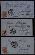 3 X AMBULANT QUIEVRAIN -1867 N° 19 Sur Fragm. De Lettre - GAND - Losange De Points 141 > JARVILLE NANCY - Postmark Collection