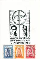 ION MOTA & VASILEMARIN,MAJADAHONDA,E UROPA,CEPT,1957,CM,MAXI CARD,CARTES MAXIMUM,IMPERFORATED STAMPS,SPAIN EXIL,ROMANIA - Europa-CEPT