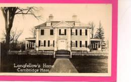 12 / 9 / 327  -Longfellow´s Home - Cambridge Mass   - Maison Historique ( Voir Le Dos ) - Etats-Unis