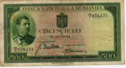 Romania 500 Lei 1934, Portrait Of King Carol II, P.36 VF - Roumanie