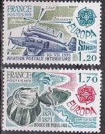 N° 2046 Et 201è EUROPA 1979 Aviation Postale Inrtérieur Et Boule De Moulins - France