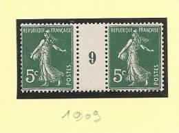 1909 - Millésime 9 - Type 5c Semeuse - Neuf Sans Charniere - Cote 12.00 Euros - Petite Variete Timbre De Gauche - Millesimes