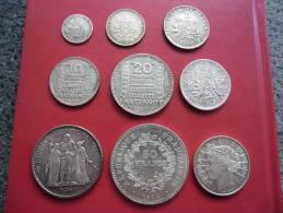 LOT Collection Des 9 Principales Monnaies D' ARGENT De France Du 20 ° Siècle @ Voir Description - France