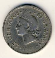 1967 Dominican Republic 25 Centavos In Very Nice  Condition - Autres – Amérique