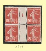 1911 - Millésime 1 - Type 10c Semeuse Camee - Sans Charniere - Cote + 20.00 Euros - Millesimes
