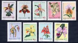 POLAND 1965 Orchids Set MNH / **.  Michel 1612-20 - 1944-.... Republic