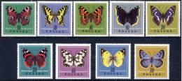 POLAND 1967 Butterflies Set MNH / **.  Michel 1797-1805 - 1944-.... Republic