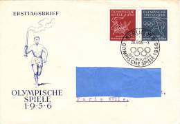 [Z2] Circulated FDC Premier Jour Circulé Allemagne Est Eastern Germany Jeux Olympiques Melbourne Olympics - Summer 1956: Melbourne