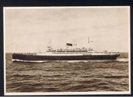 "RB 888 - Italy Ship Boat Postcard - Motonave ""Saturnia"" - ""Vulcania"" - Societa Di Navigazione Genova - Paquebote"