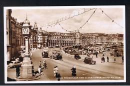 RB 888 - Real Photo Postcard - Cars & Trams - Loch Promenade & Clock Tower - Douglas Isle Of Man - Isle Of Man