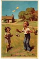 CPA Fantaisie Illustration Papillon Vole Enfants - Fantaisies