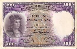 BILLETE DE ESPAÑA DE 100 PTAS DEL AÑO 1931 BC SIN SERIE  (BANKNOTE) - [ 2] 1931-1936 : Repubblica