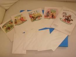 Ancien Papier A Lettres Theme LE CHAT BOTTE 4 Feuilles 4 Enveloppes 1er Serie - Vieux Papiers