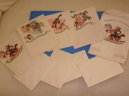 Ancien Papier A Lettres Theme LE CHAT BOTTE 4 Feuilles 4 Enveloppes 2eme Serie - Vieux Papiers