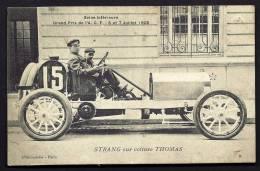 CPA ANCIENNE- FRANCE- SEINE INFERIEURE- GRAND PRIX DE 1908- STRANG SUR VOITURE THOMAS- TRES GROS PLAN - Non Classés