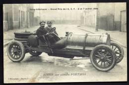 CPA ANCIENNE- FRANCE- SEINE INFERIEURE- GRAND PRIX DE 1908- SIMON SUR VOITURE PORTHOS- TRES GROS PLAN- - Non Classés