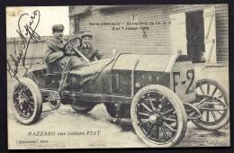 CPA ANCIENNE- FR- SEINE INFERIEURE- GRAND PRIX DE 1908- NAZZARO SUR VOITURE FIAT- TRES GROS PLAN- AUTOGRAPHE DU PILOTE - Non Classés