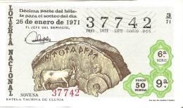 BILLETE DE LOTERIA DEL AÑO 1971 DE LA SERIE DE TOROS ESTELA TAURINA CLUNIA (TORO-BULL-TORERO)  (LOTO-LOTTO) - Billetes De Lotería