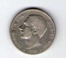 ALFONSO XII  1 PTS. PLATA 1881  (*--/81)   L363 - Colecciones