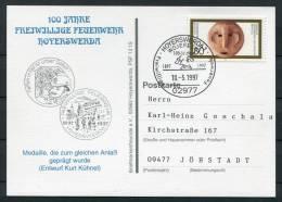 1997 Germany Hoyerswerda Feuerwehr Fire Brigade Postcard - Firemen