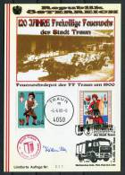 1998 Austria Traun Feuerwehr Fire Brigade Signed Postcard - Firemen