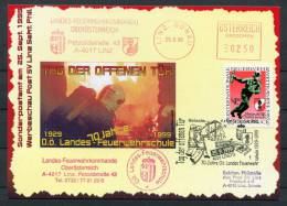 1999 Austria Linz Donau Feuerwehrschule Fire Brigade School Postcard - Firemen