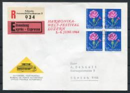1964 Switzerland Harmonika Welt Festival Luzern Music Mobile Post Office Express Cover - Music