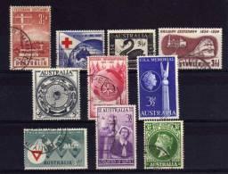Australia - 1954/55 - 10 Single Stamp Issues - Used - 1952-65 Elizabeth II : Ed. Pré-décimales