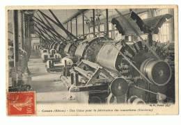 CP COURS  UNE USINE POUR LA FABRICATION DES COUVERTURES  CARDERIE - ECRITE EN 1907 - France