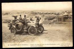 CPA ANCIENNE- MAROC- MILITARIA- TAOURIRT- ARRIVÉE DU GENERAL ALIX EN AUTO-MITRAILLEUSE-TRES GROS PLAN- L'INFIRMERIE- - Morocco
