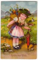 CHILDREN A GIRL WITH FLOWERS OLD POSTCARD - Children