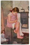 """CHILDREN """"LITTLE SEAMSTRESS"""" VICTORIA Nr. 13 OLD POSTCARD 1917. - Children"""