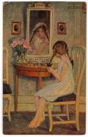 CHILDREN A GIRL LOOKING AT A MIRROR OIL TECHNIQUE DEGI Nr. 515 OLD POSTCARD - Children