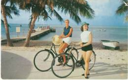 Women On Bicycles Bikes, Bahamas, Grand Bahama Club's Fishing Dock, C1950s Postcard - Cycling