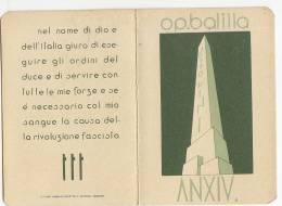 C-0780- Fascismo P.N.F. - O.N.B. Tessera Fascista Piccola Italiana Anno XIV - Organizations