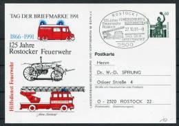 1991 Germany Tag Der Briefmarke Stationery Card Rostock Feuerwehr - Firemen