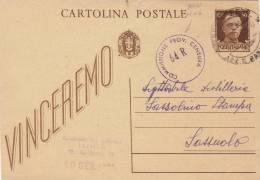 """TRENTO  /   SASSUOLO  19.1.1944 - Card_ Cartolina Pubblicitaria """" CAMPREGHER Andrea """"  Censura 64R - 5. 1944-46 Luogotenenza & Umberto II"""