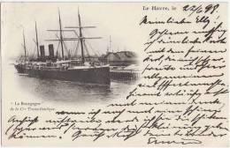 Le Havre La Bourgogne De La Cie Transatlantique 22.6.1898 Gelaufen Perfins Firmenlochung - Port